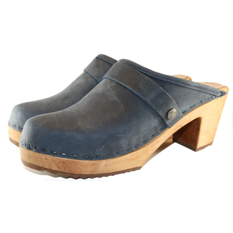 High Heel Oil Tanned Denim blue Leather  Clog
