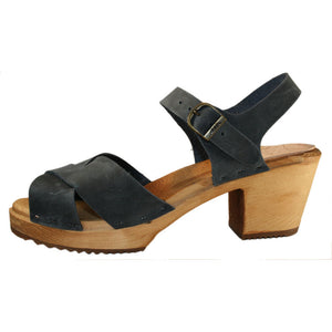Denim Oil Tanned High Heel  Heather Sandal