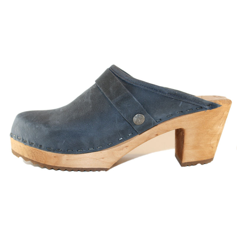 Denim Blue Oil Tanned Leather on a High Heel