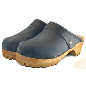 Mountain Sole Clogs in Denim Blue  Oil Tanned Leather with Snap Strap