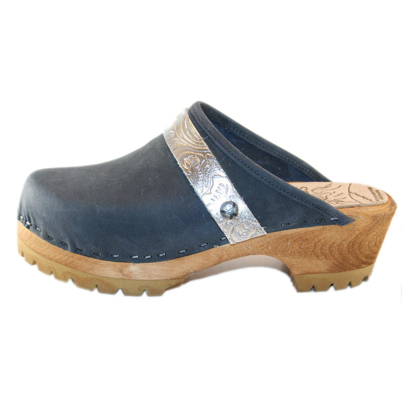 Denim Blue Mountain Clog with Silver Embossed Strap