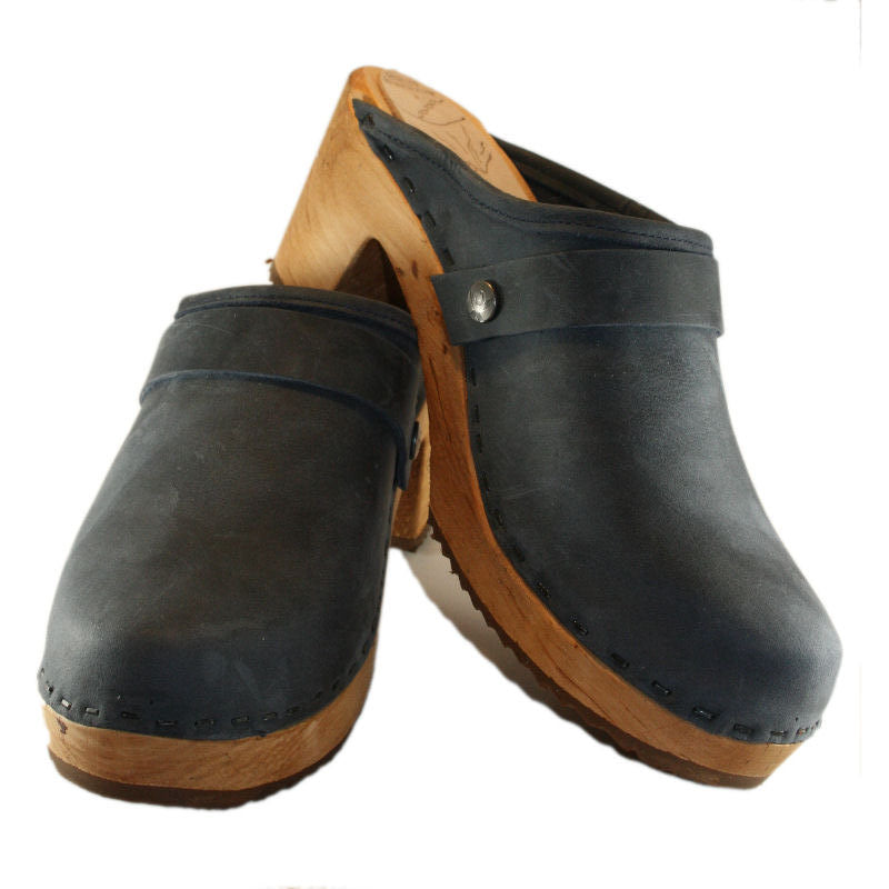 Denim Blue oil Tanned High heel  Snap Strap Clog
