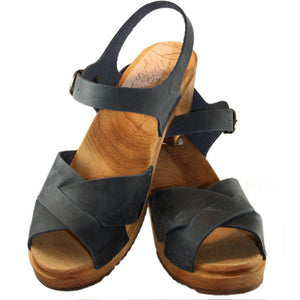 High Heel Denim Blue Oil Tanned Leather Heather Sandal