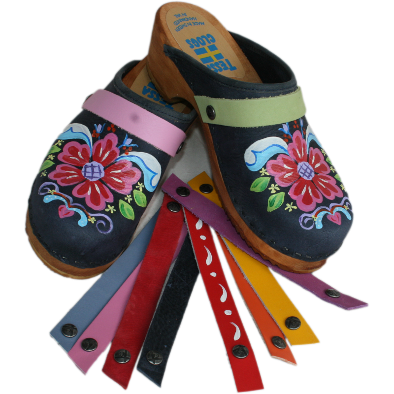 Hand Painted Clogs with Snap Straps