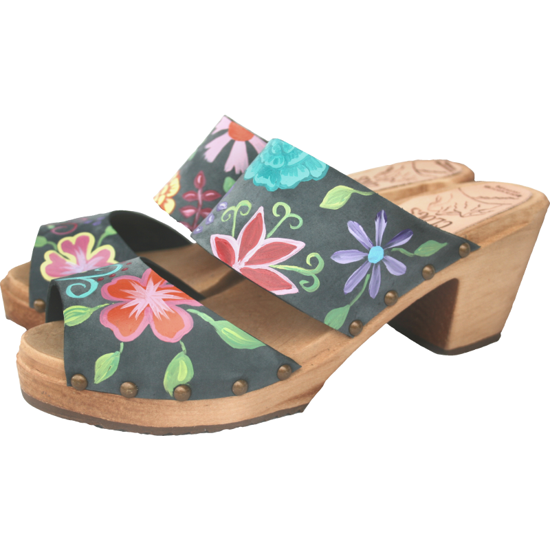 High Heel Denim Nubuck Two Strap Blossom Sandal