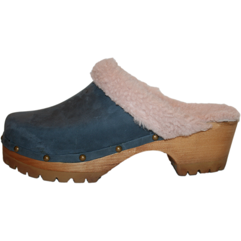 Denim Blue Shearling Lined Mountain Clogs finished with Decorative Nails