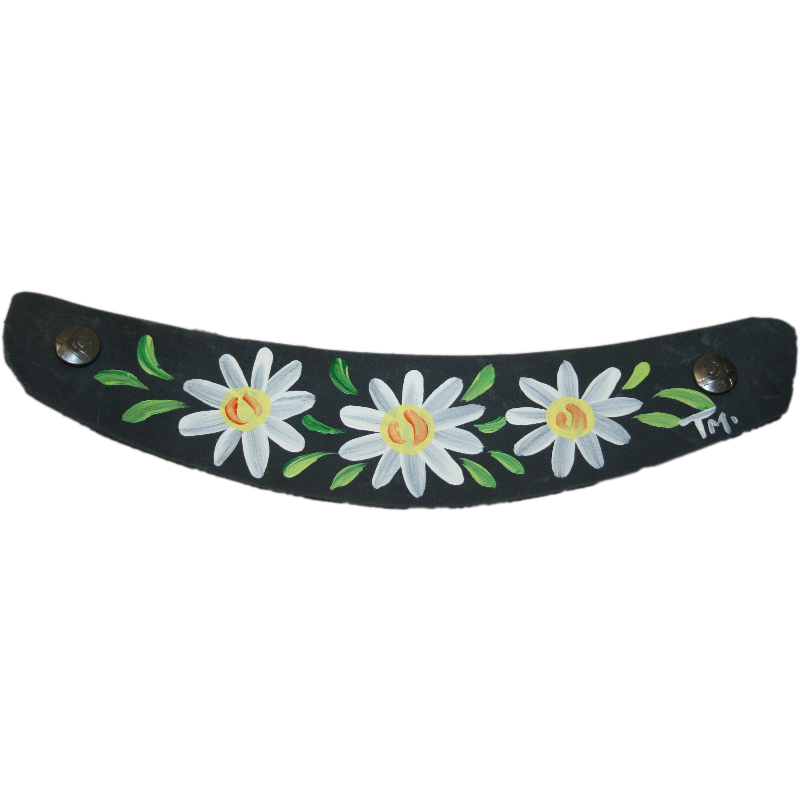 Hand Painted Denim Blue Daisy Strap