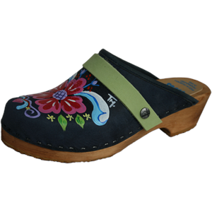Traditional Heel Denim Blue Petra with you choice of Strap