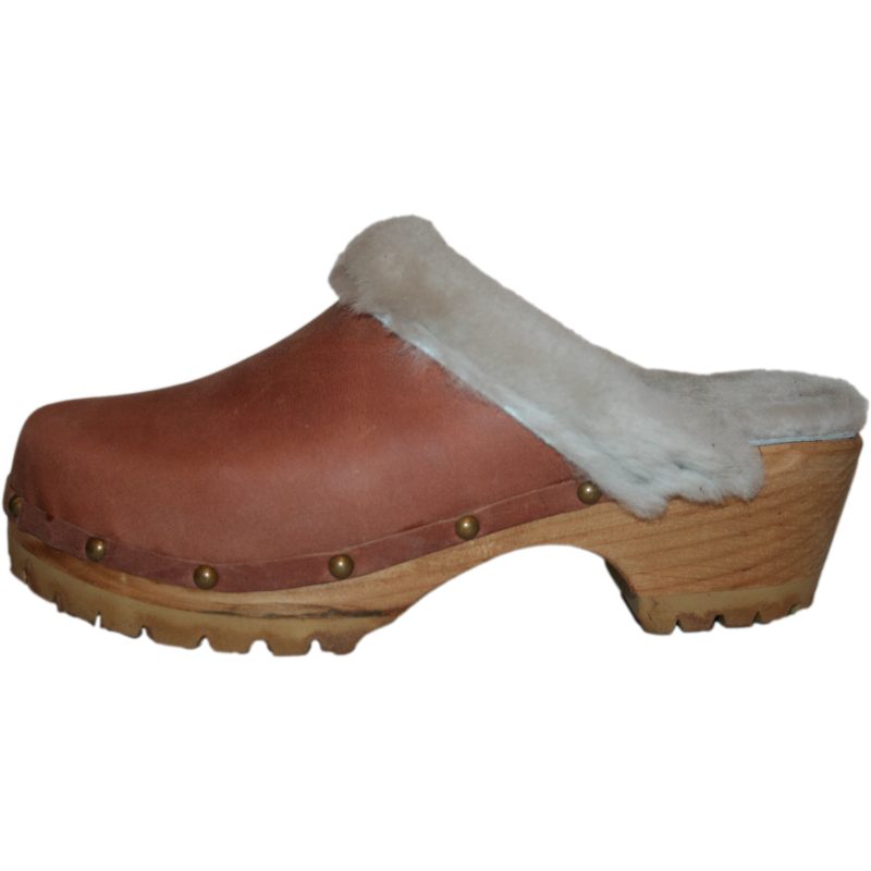 Dusty Cinnamon Shearling Lined Mountain Clogs finished with Decorative Nails