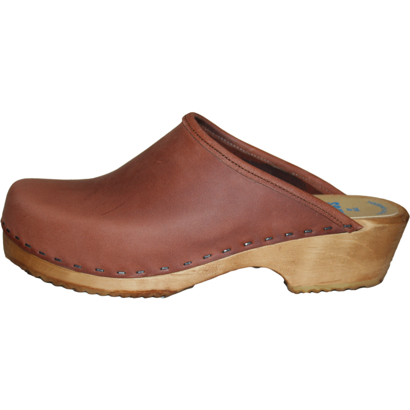 Men's Traditional Heel Dusty Cinnamon Leather Clogs