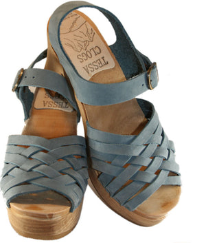Ultimate High Madeleine Sandal in Faded Denim Nubuck