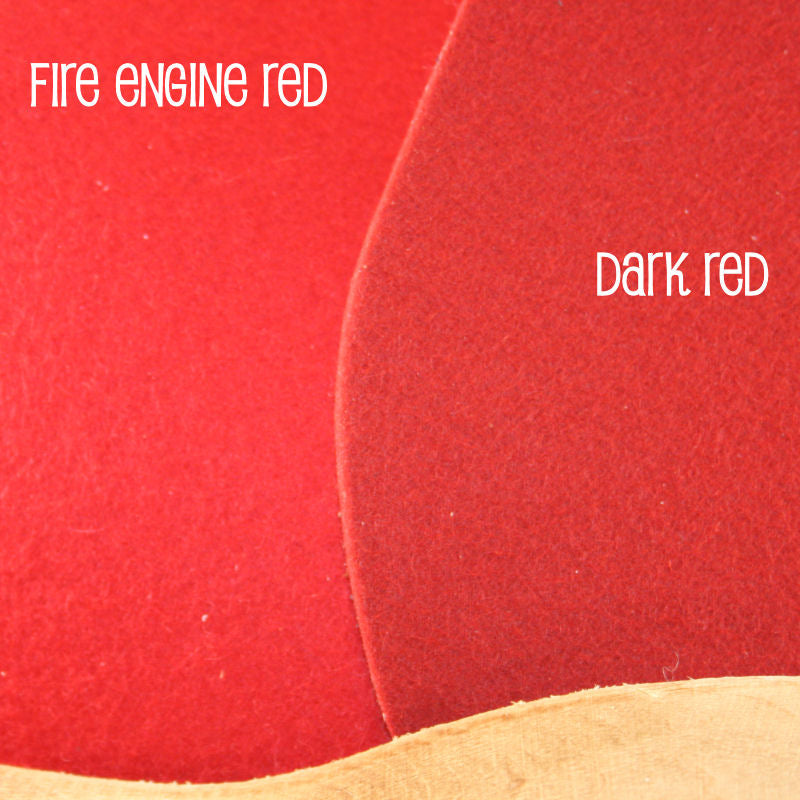 Dark Red and Fire Engine Red Felt Wool