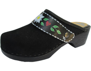 Flexible Tessa Clog in Black Suede and a Edelweiss Strap