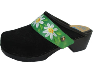 Flexible Tessa Clog in Black Suede and a Green Daisy Strap