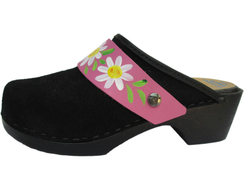 Flexible Tessa Clog in Black Suede and a Pink Daisy Strap