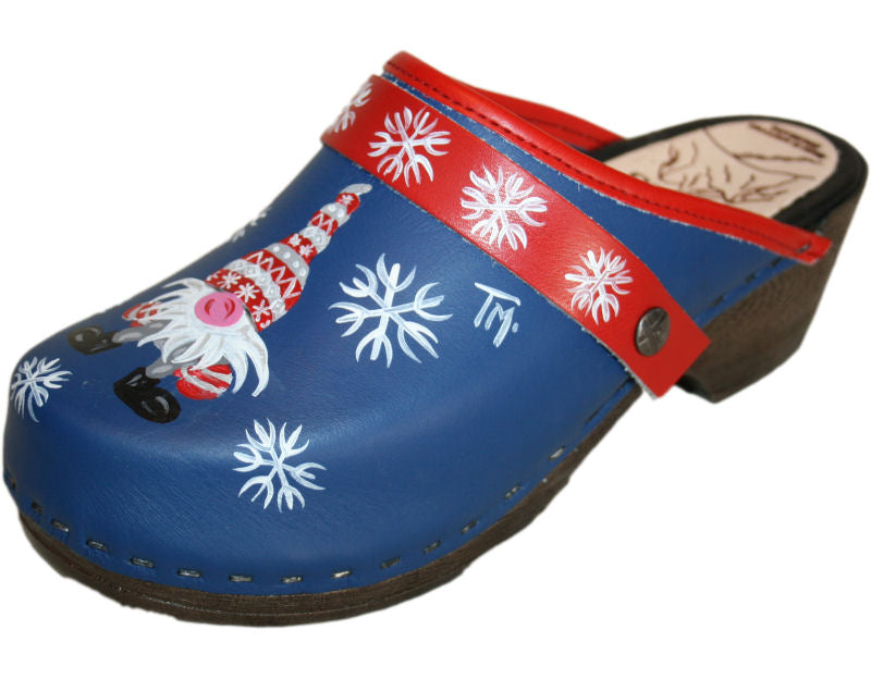 Flexible Tessa Clogs in a Christmas Design, Red Snowflake Strap