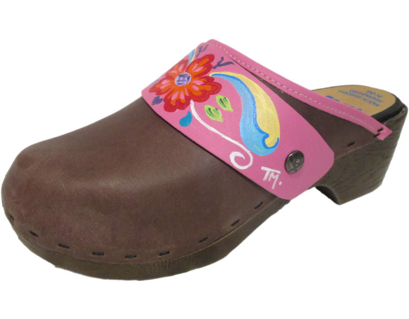 Flex Hand Painted Tessa Clog in Brown Oil with Hot Pink Petra Strap