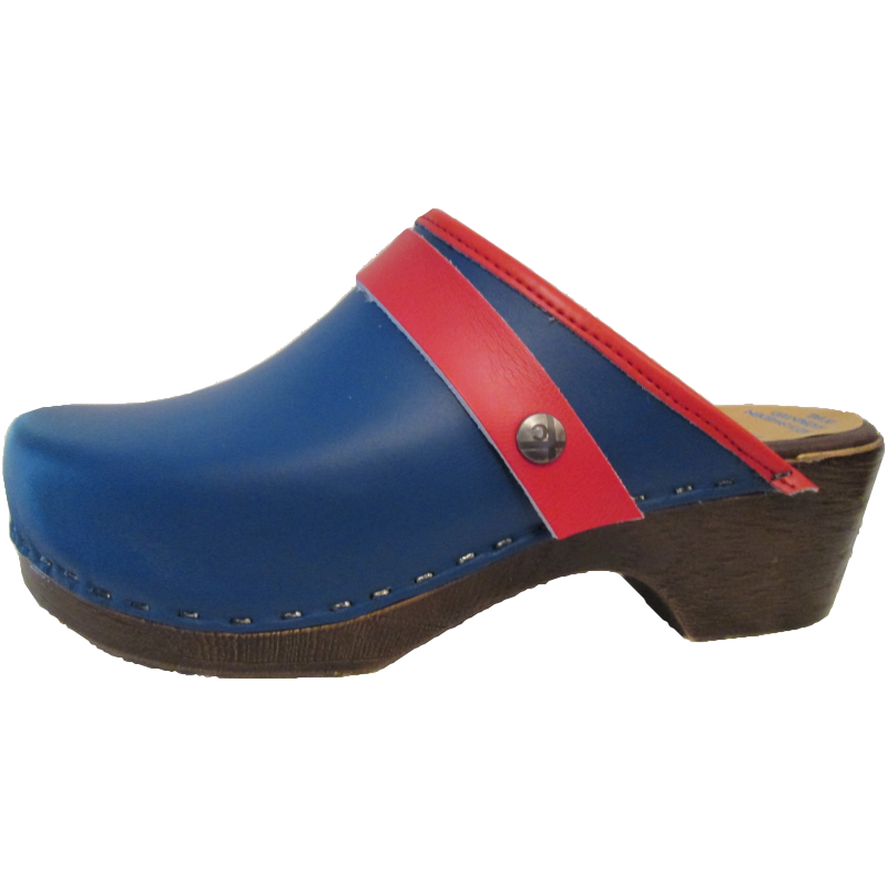 Royal Blue and Red Edge Band & Snap Strap, Flexible Tessa Clog