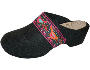 Tessa Flex Felt Wool Birds Ribbon Strap Clog