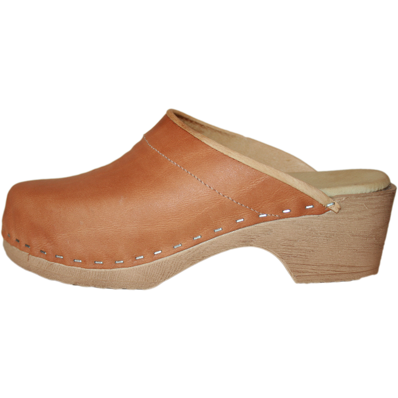 Tessa Clogs in a pu Flex Sole with Golden Tan leather