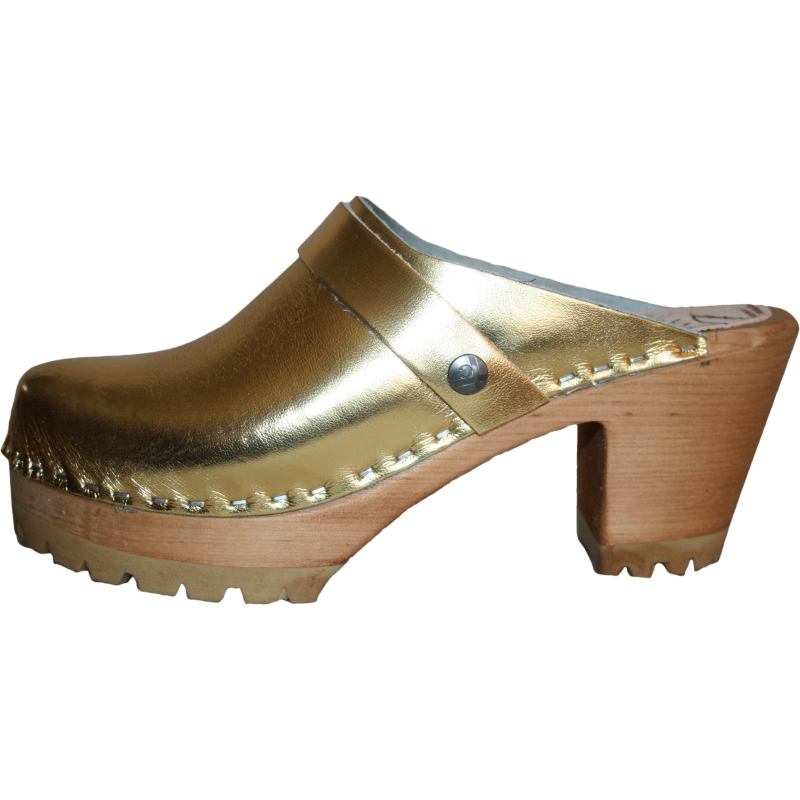 Metallic Gold Leather High Heel Mountain Tessa Clog