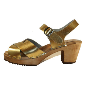 Gold Metallic High Heel Heather Sandal