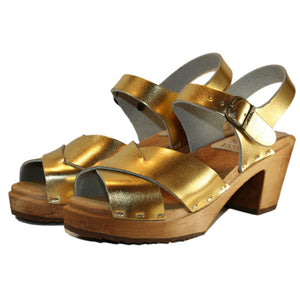 Gold Heather High Heel Sandal