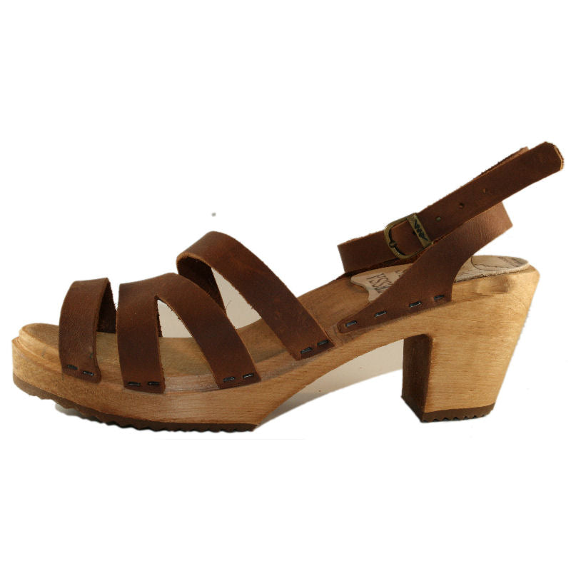 High Heel Katherine Sandal in Golden Brown Oil Tanned Leather