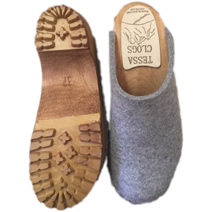 Granite Gray Felt Wool Mountain Clogs