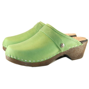 Grass Green Leather on a flexible polyurethane Sole