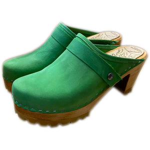 High Heel Mountain Sole Clogs in Grass Green Leather and Snap Strap