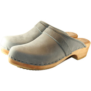 Men's Traditional Heel Gray  Leather Clog