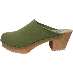 High Heel Felt Wool Olive Green