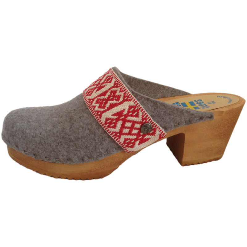 High Heel Granite Felt Wool with White & Red Ribbon Strap
