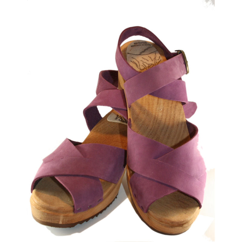 Tessa High Heel Sandal Clog in Criss Cross Heather