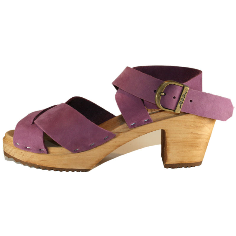 Tessa High Heel Sandal Clog in CrissCross Heather