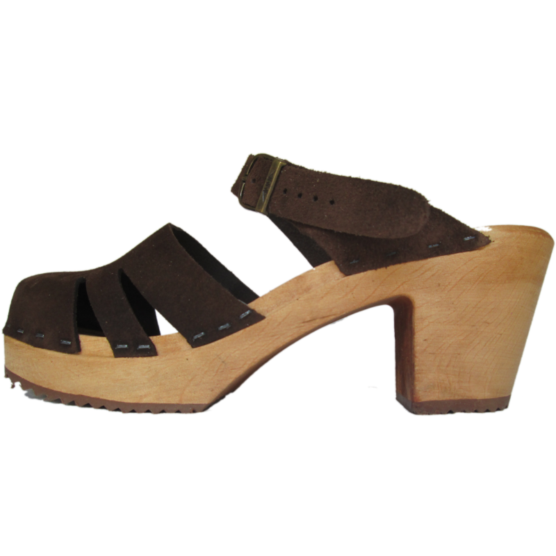 Brown Suede Closed Toe Molly High Heel Sandal