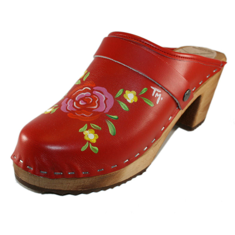 Tessa High Heel hand painted Clog in a Red Matilda design