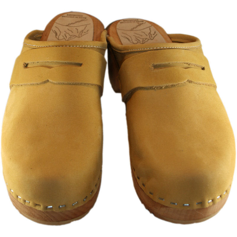 Honey Nubuck Traditional Heel Penny Loafers Clogs
