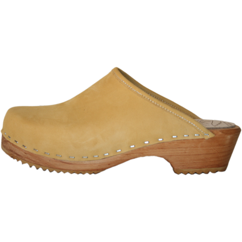 Traditional Heel Honey Nubuck Clog