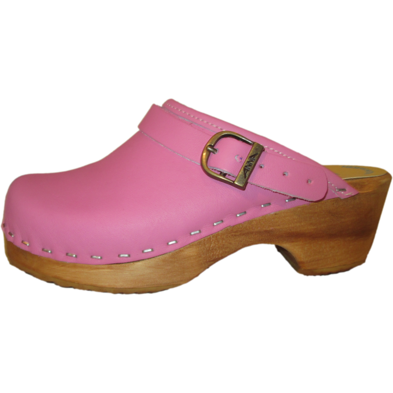Children's Tessa Clog in a Heel Strap and Hot Pink Leather