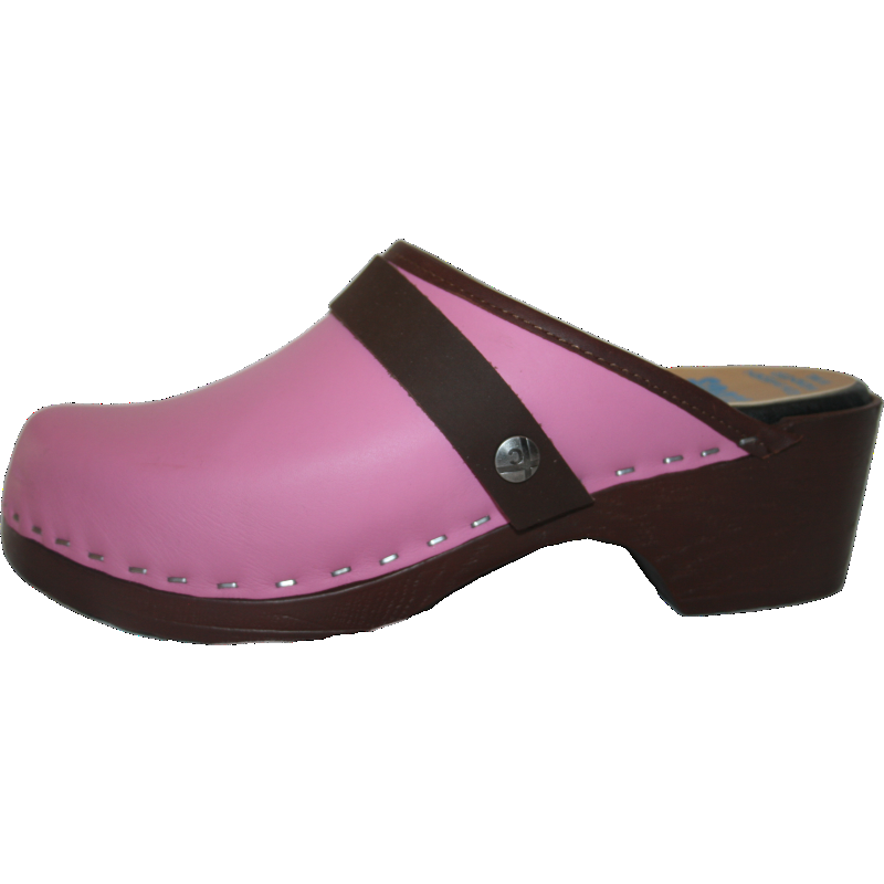 Flexible Tessa Clog in Hot Pink with Brown PU Sole, made in CO