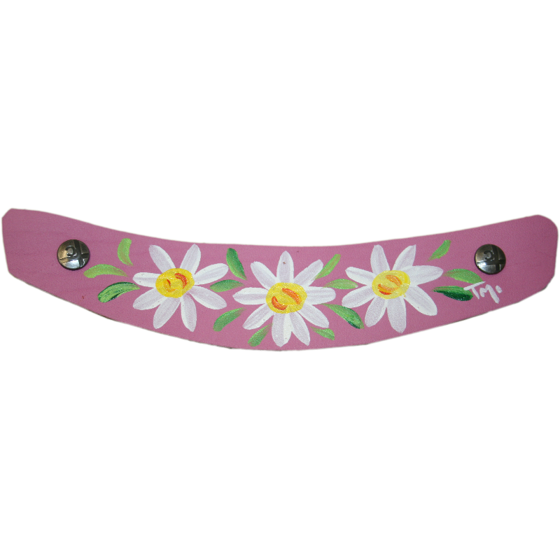 Hand Painted Daisy design on Hot Pink Leather