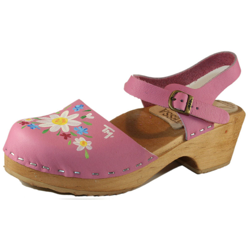 Children's Hot Pink Moa Sandal hand painted with our Malin Design