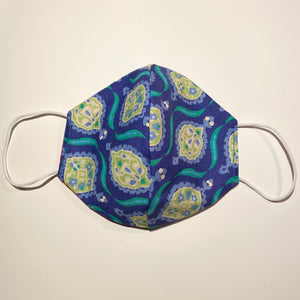 Tessa Reversible Cotton Face Mask in Blue