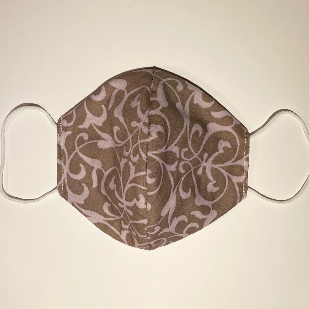 Tessa Reversible Cotton Face Mask in Light Brown-Pink