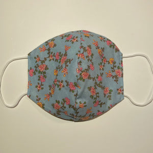 Tessa Reversible Cotton Face Mask in Blue Vintage Flower