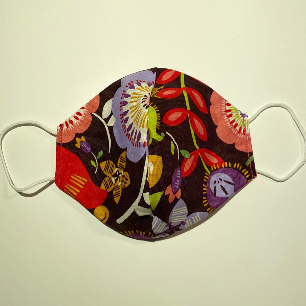 Tessa Reversible Cotton Face Mask in Brown Flower