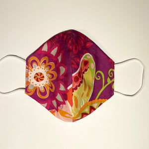 Tessa Reversible Cotton Face Mask in Purple Floral