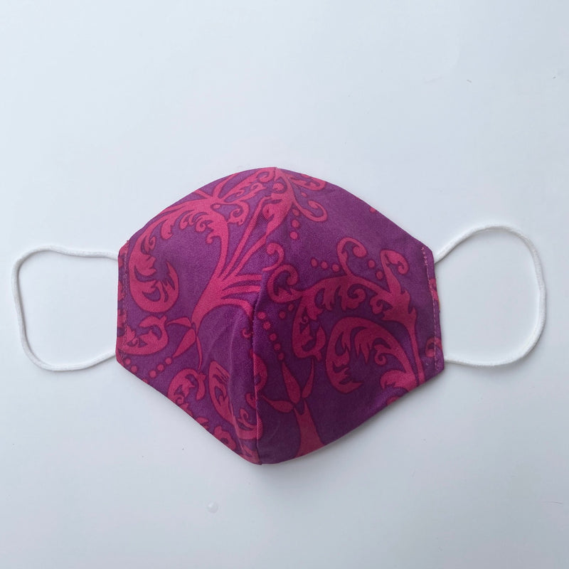 Tessa Reversible Face Mask Purple Floral/Purple Brocade